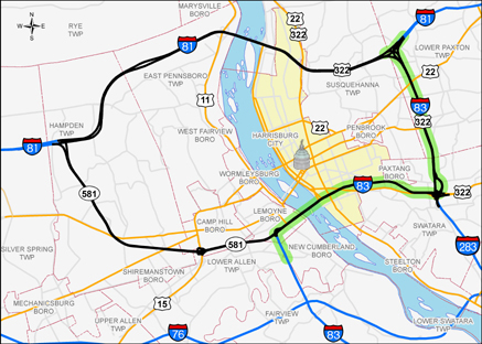 I-83 Capital Beltway Map