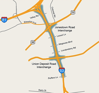 Project map showing I-83 from Peiffrers Lane to 81 Interchange
