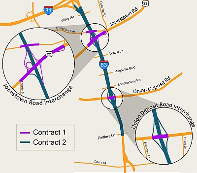 Map that shows the project area divided into Contract 1 and 2
